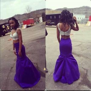 Purple two piece prom dress
