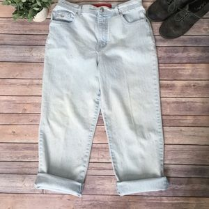 Vintage Boyfriend White Washed Jeans Faded Cropped