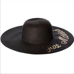 "Betsey Johnson ""Just Married"" black floppy hat."