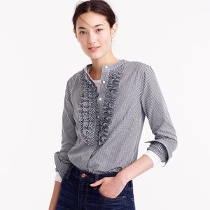 J. Crew Thomas Mason Collection Gingham Ruffle Top