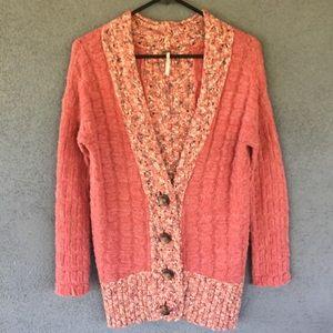 OU Free People Orange Knit Marled Cardigan Sweater