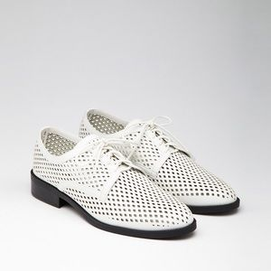 Forever 21 Perforated Faux Leather White Oxfords