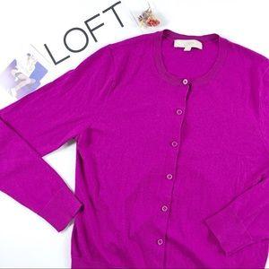 LOFT Berry Crew Neck Lightweight Knit Cardigan