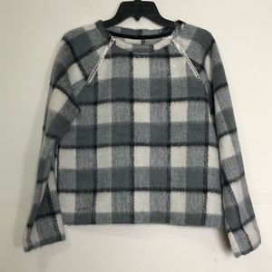 Abercrombie & Fitch: grey plaid thick wool sweater