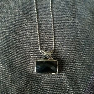 Sterling Silver & Hematite Pendant made in Italy