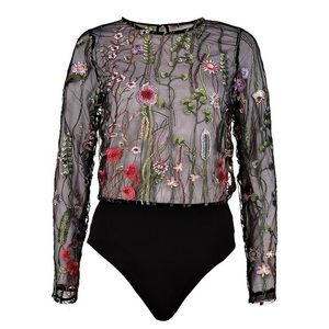 Boohoo brand Lola boutique embroiled bodysuit