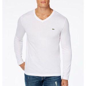 Lacoste Men's white long-sleeve t-shirt