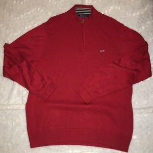 Mens large vineyard vines red sweater pull over
