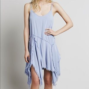 Free People Tattered up Shred slip dress in blue