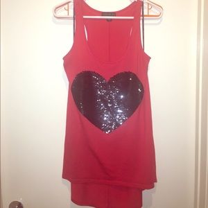 Plus Size Sequin Heart High-Low Tank