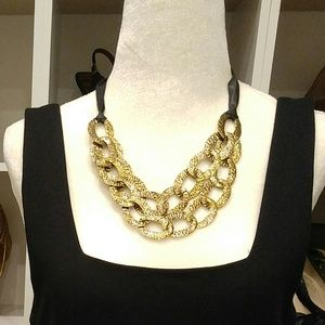 2 ROW HAMMERED GOLD LINK NECKLACE
