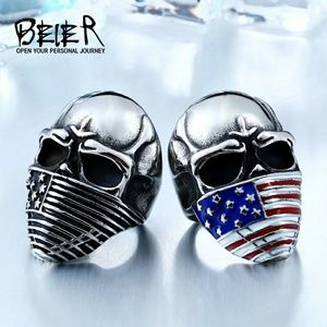 BEIER american flag stainless steel skull ring