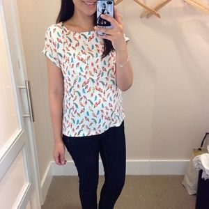 LOFT Bird Print Novelty Top