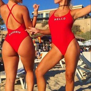 Hello & goodbye one piece monokini swimsuit