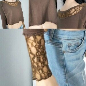 FREE PEOPLE RUGGED LACE CROP
