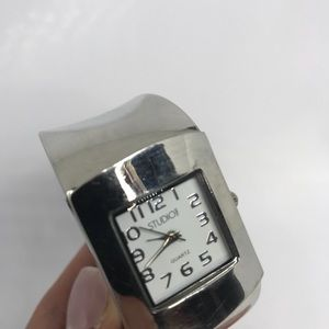 Silver Studio Time Quartz Watch Cuff Bracelet