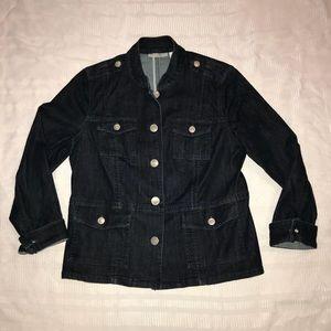 Chico's platinum stretch denim jean jacket sz 1 M