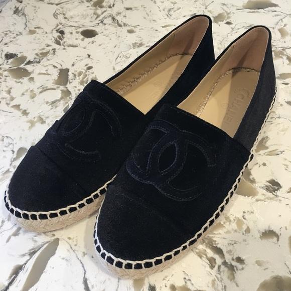 120fef44adbf Chanel Black Velvet Espadrilles 39