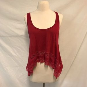 Hollister Cranberry Oversized Tank Top with Lace