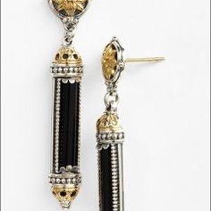 Kostantino black barrel drop earrings