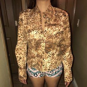 Leopard print bebe long sleeve button down shirt