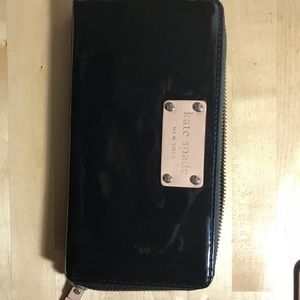 Kate Spade Long Wallet - black patent leather