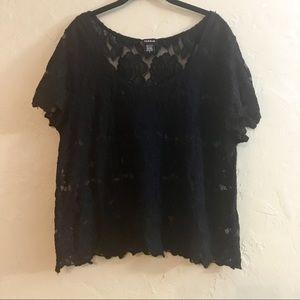 Size 2 Torrid Black Lace Crop Top