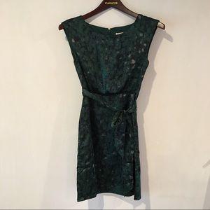 Ann Taylor LOFT green silky dress pleated 00P