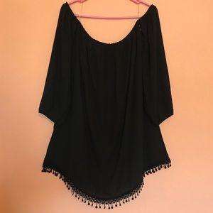 Black off the shoulder tassel dress