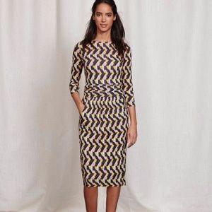 Boden Ruched Waist Soft Jersey Geo Honeycomb Dress