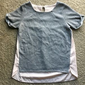 Two tone short sleeve top (nude pink & grey)