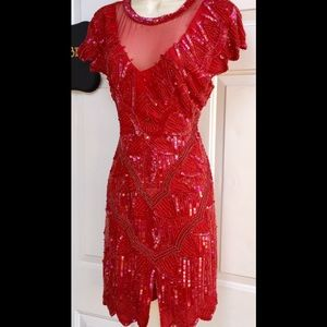 Art Deco Vintage Red Sequin Beaded Silk Dress S