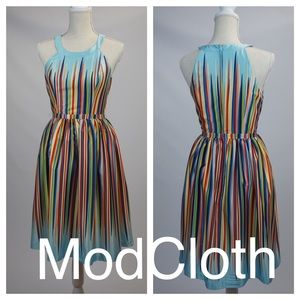 ModCloth Blue Rainbow Striped dress