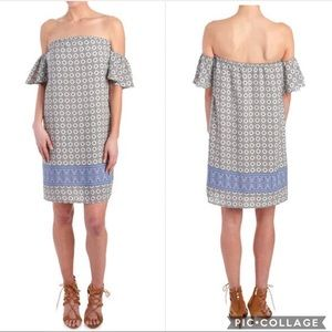 Medallion Border Print Off The Shoulder Dress