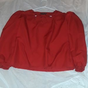 RED BLOUSE WITH EMBROIDERY AT NECK THREE QUARTERS