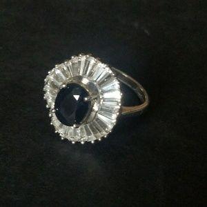 Stunning Sapphire & White Topaz Ballerina Ring