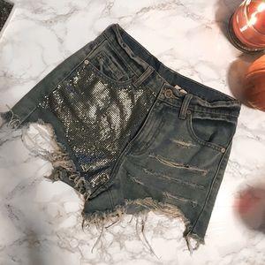 UNIF chain metal denim shorts