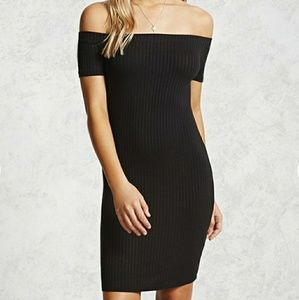 Off the shoulder body con dress