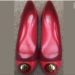COACH Shoes SHANON Patent LEATHER Gold FLATS sz 7