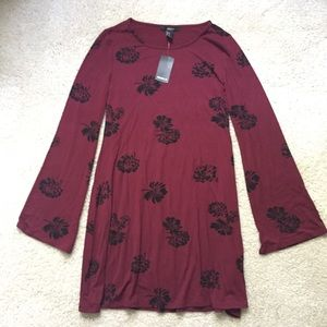 Forever21 Oxblood Long Sleeved Dress