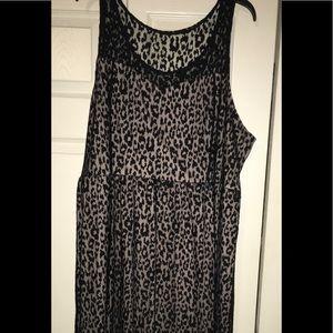 Lane Bryant Size 28 Leopard Overlay Dress