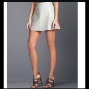 BCBG Maxazria Grey Faux Leather A Line Skirt S