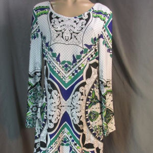 White Mark Couture Collection Scarf Print Dress L