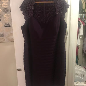 Lace Back & Sleeve Aubergine Cocktail Dress