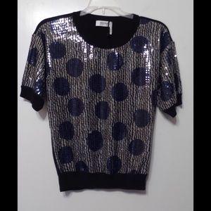 SONIA RYKIEL Sequin Front Cotton Sweater Sz S