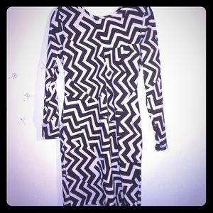 Black & White Chevron Print Long Sleeve Dress SzM