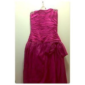 Nippon night strapless fuchsia gown