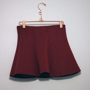 Forever21 Flare Scuba Mini Skirt   - Red