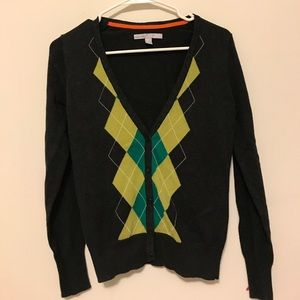 Green White Gray Argyle Sweater Cardigan 212