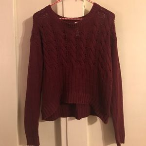 Bethany Mota, short, thin, knit maroon sweater